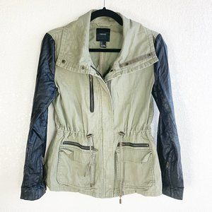 Forever 21 Green Denim Faux Leather Cargo Jacket